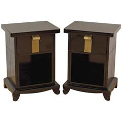 Pair of Early John Stuart Nightstands in Black Lacquer