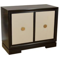 Black Lacquered Chest with Leather Panelled Doors and Brass Pulls