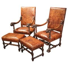 Pair of 19th Century French Louis XIII Walnut Lion Heads Armchairs with Ottomans