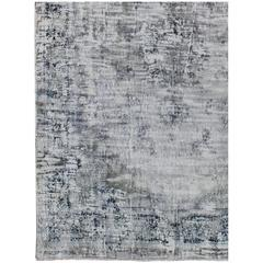 Distressed Vintage Persian Rug with Modern Design in Shades of Ivory and Blue