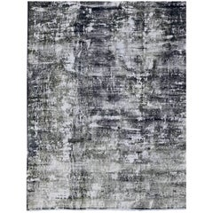 Distressed Vintage Persian Rug with Modern Design in Shades of Dark Blue & Gray