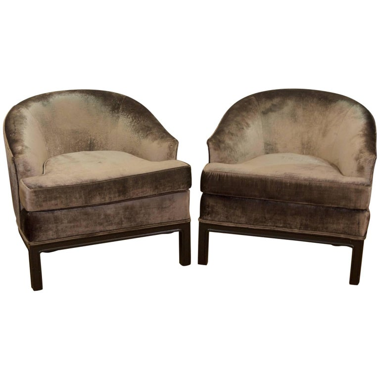 Pair of Velvet Upholstered Mid-Century Modern Club Chairs 1