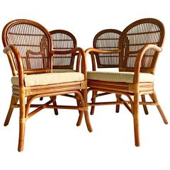 Set of Four Vintage Rattan Armchairs