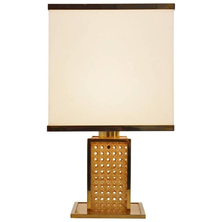 Italian Regency Brass, Lucite and Cane Table Lamp with Acrylic Lampshade, 1960s