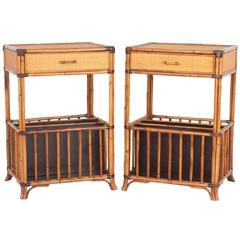 Pair of Mid-Century Grasscloth and Bamboo Nightstands