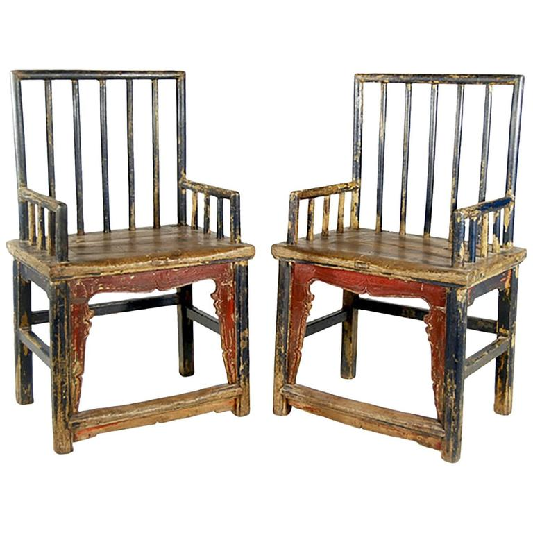 Pair of Chinese Spindleback Armchairs