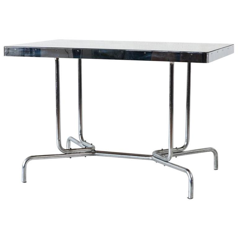 Black Glass Top Bauhaus Table Thonet B 57 1930s For Sale At 1stdibs