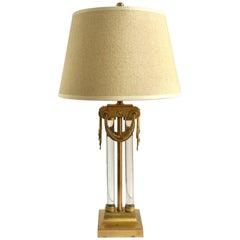 Modernist Art Deco Brass and Glass Lamp by Gilbert Rohde