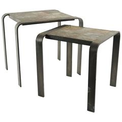 Nesting Tables of the 1960s-1970s in Wrought Iron and Slate