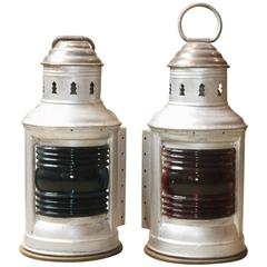 Pair of Aluminium and Brass Port and Starboard Lanterns