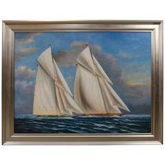 Oil on Canvas of Two Gaff Rigged Yachts in Race
