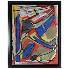 Large Painting by J Mailhe, Dated 1988, Jean Maïlhe Is a French Painter