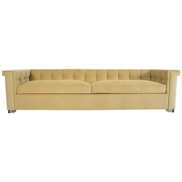 Mid-Century Style Over-Sized Sofa in Soft Yellow Velvet w/ Lucite Legs