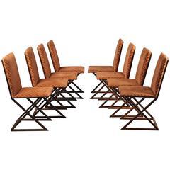 Eight Italian Brass Chairs