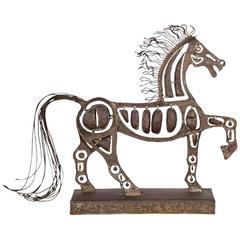 Metal Horse Sculpture, Signed Pal Kepenyes