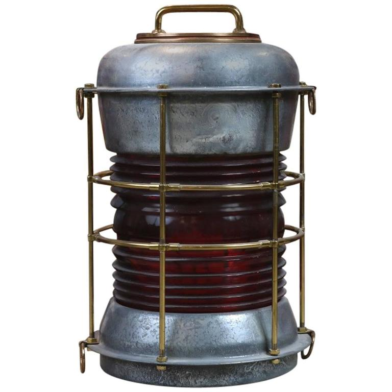 Durkee Marine Ship's Lantern with Red Fresnel
