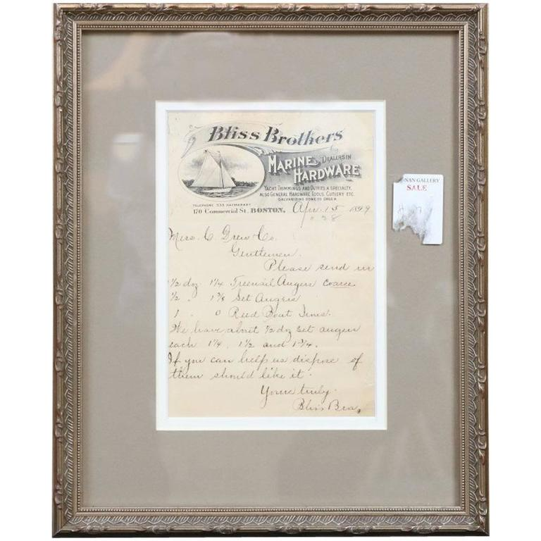Authentic framed invoice from bliss brothers circa 1899 for Property brothers bliss