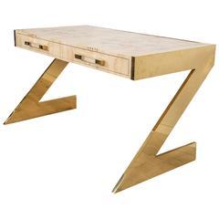 Mid-Century Modern Style Z-Leg Desk in Brass w/ Mappa Burl Wood Top