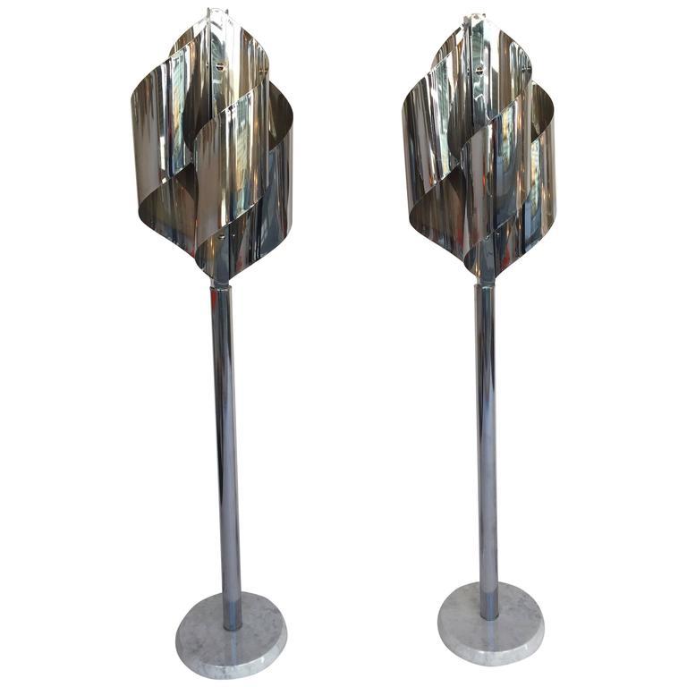 Pair of Floor Lamps Chrome by Reggiani, Italy, 1970s