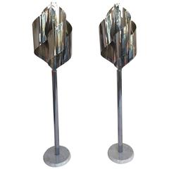 Pair of Floor Lamps Chrome by Reggiani, Italy, 1970s