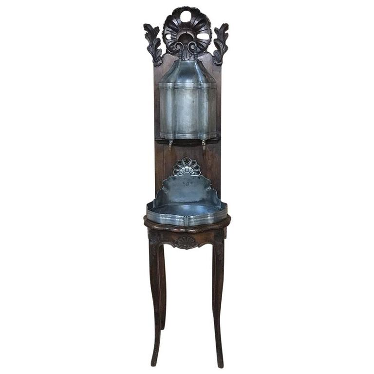 18th Century Pewter Wall Fountain with Cherrywood Stand