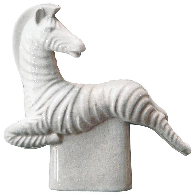 """Leaping Zebra,"" Fine and Rare Art Deco Sculpture, Signed by Waylande Gregory"