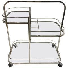 Art Deco Style Three-Tier Chromed Bar Cart
