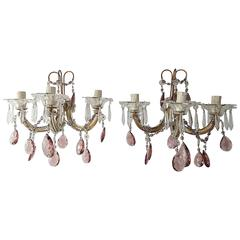 1920 French Purple Crystal Prisms and Swags Sconces