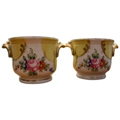 Pair of Two Handled Small Porcelain Cups Decorated in Gilt and Polychrome