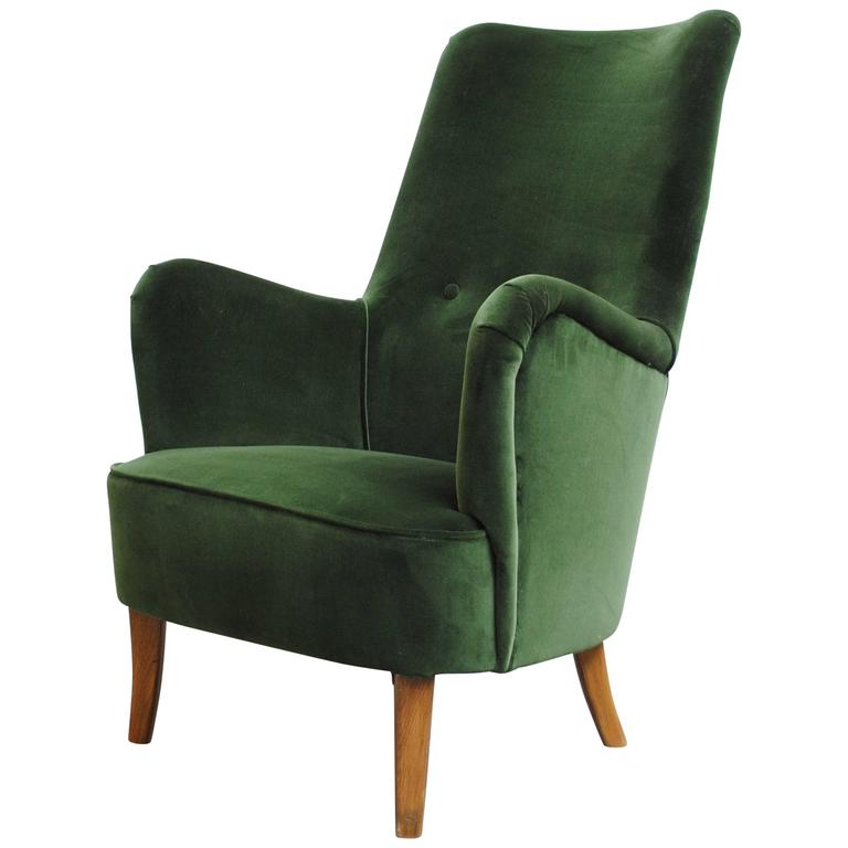 Genial Emerald Green Velvet Theo Ruth Lounge Chair By Artifort For Sale