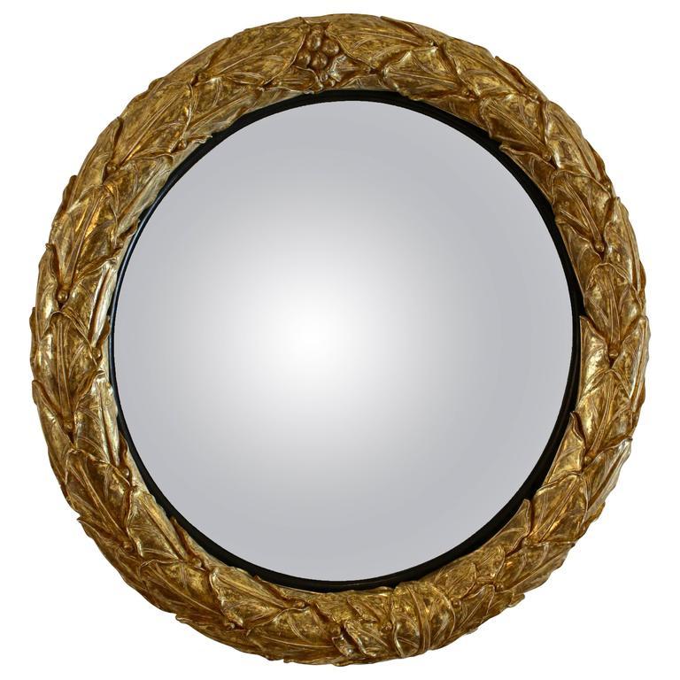 Impressive Regency Giltwood Convex Mirror with a Leaf Motif, Gilded