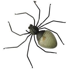Mid-Century Italian Brutalist Spider Light Green Glass Body Sconce