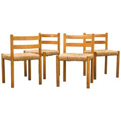 Set of Four Charlotte Perriand Inspired Rush Chairs