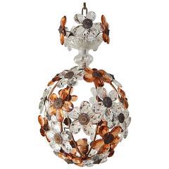 Clear and Peach Crystal Flowers Maison Baguès Style Chandelier