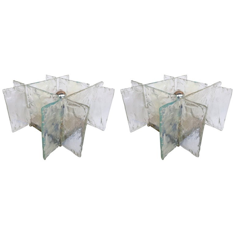 Pair of Lamps by Carlo Nason for Mazzega Murano, Italy, 1970s For Sale