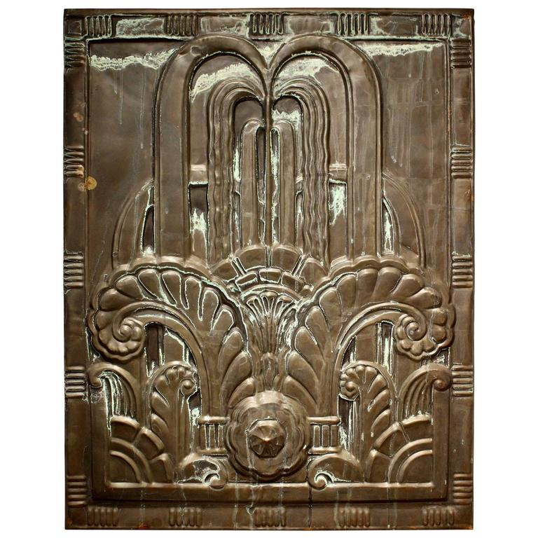 1920s Art Deco Black Tin Architectural Panel from New England Power Company For Sale