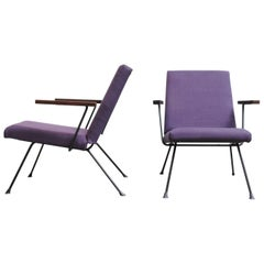 Pair of Plum Upholstered Gispen 1409 Lounge Chairs