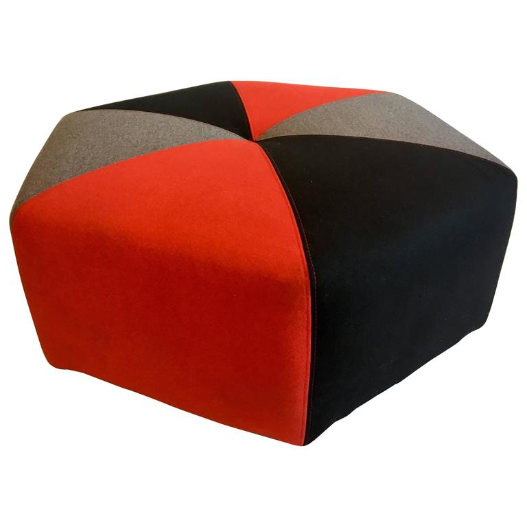 Contemporary Low Pouf Upholstered Hexagon Ottoman Multicolor in Felt