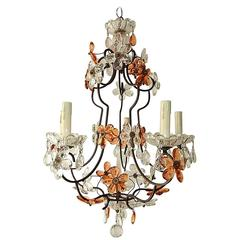 1920, Maison Bagues Style Peach and Clear Flowers Chandelier