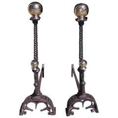Pair of English Wrought Iron and Brass Ball Top Andirons, Circa 1780