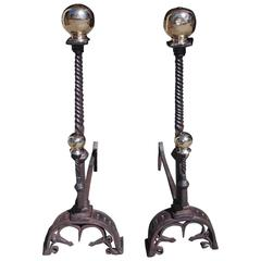 Pair of English Wrought Iron and Brass Ball Top Andirons, Circa 1780