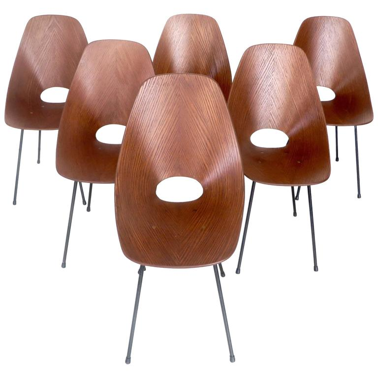 Six Medea Dining Chairs by Vittorio Nobili for Tagliabue, Milano, circa 1960 For Sale
