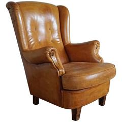 Beautiful Design Vintage Leather Wingback Chair with Small Wings & Great Patina