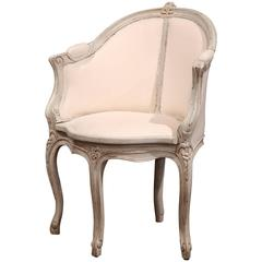 Early 20th Century French Louis XV Carved Painted Corner Desk Armchair