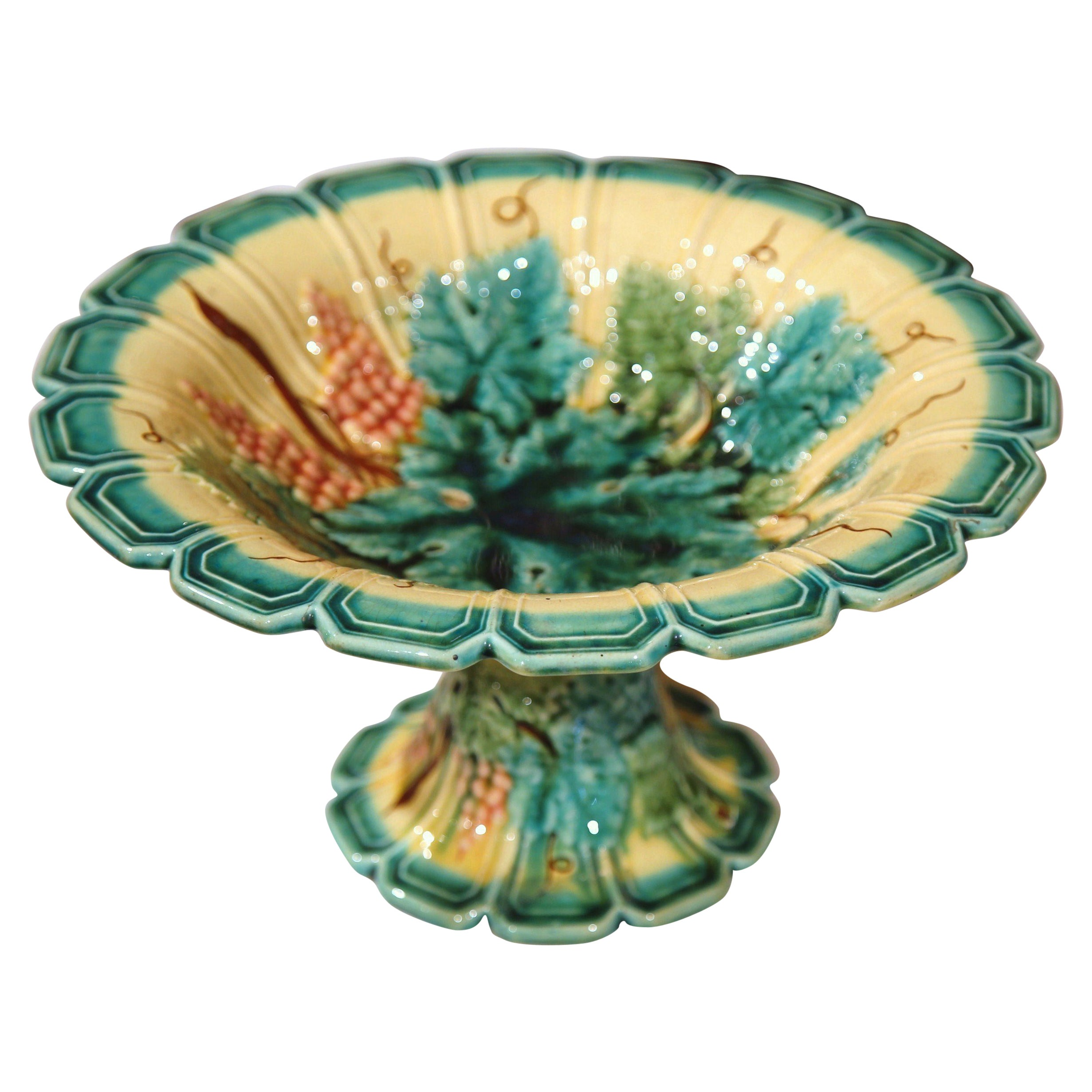 19Th Century, French Hand Painted Barbotine Fruit Bowl With Grapes And