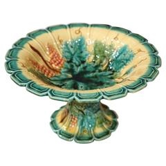 19th Century, French Hand-Painted Barbotine Fruit Bowl with Grapes and Leaves