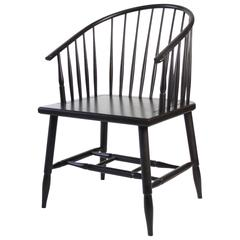 O&G Studio, Metacom Armchair, Contemporary Windsor Design in Ebony Stain