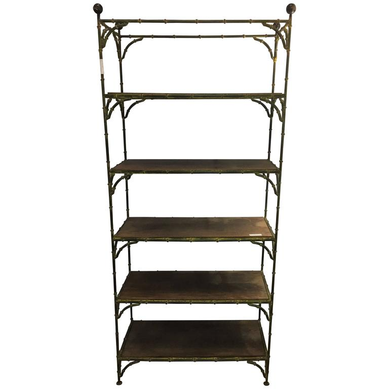 Hollywood regency rustic metal bamboo etagere by maison jansen for sale at 1s - Etagere faite maison ...