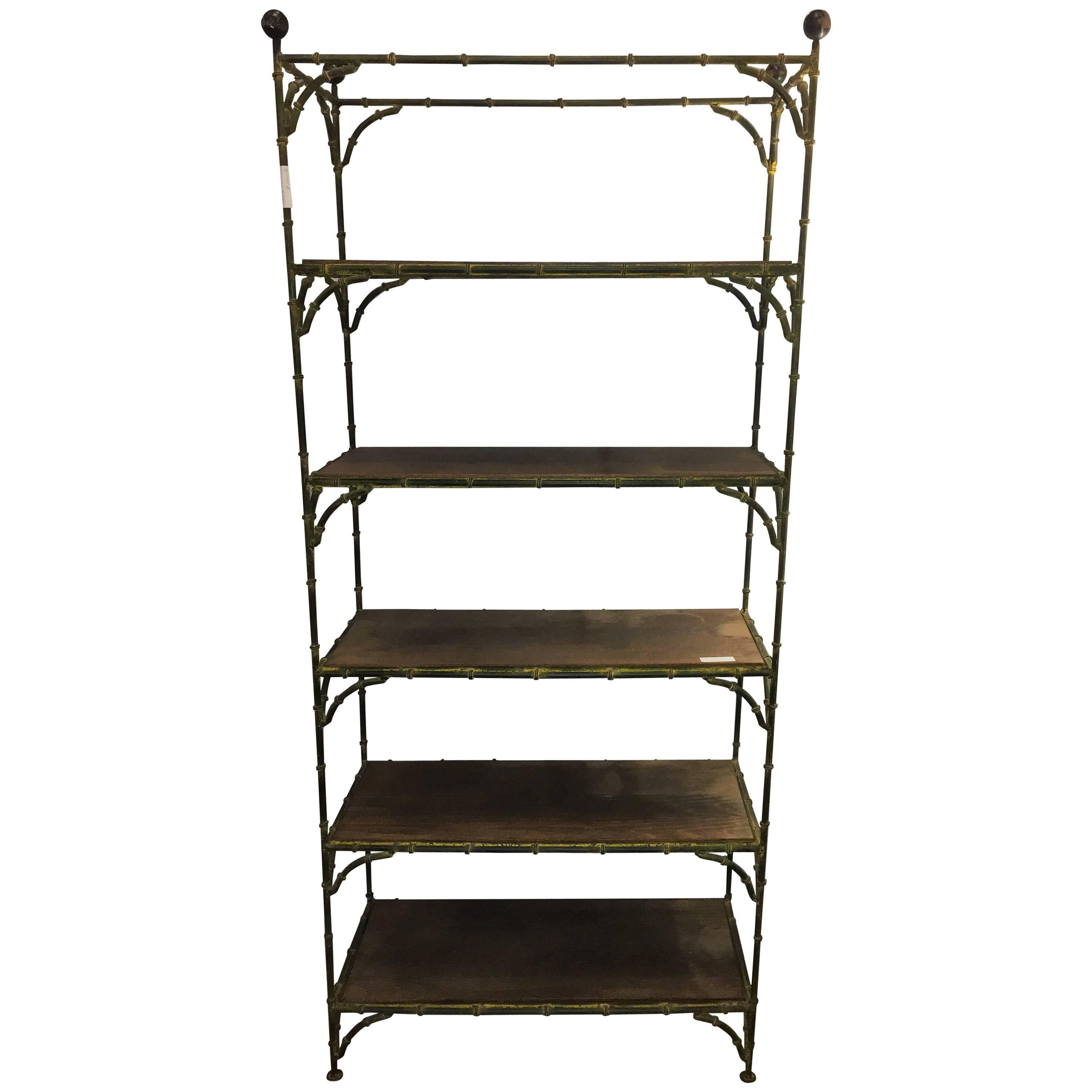 Hollywood Regency Rustic Metal Bamboo Etagere by Maison Jansen