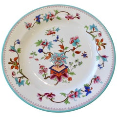 Set of 22 English Porcelain Hand-Painted Floral Plates